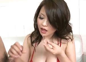 Asian,MILF,Blowjob,Lingerie,hot milf,red lingerie,group action,mmf,cock sucking,asian,threesome,blowjob,handjob,cumshot Yuu Haruka gets...